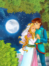 Cartoon scene with cute princes in the forest near the castle - beautiful manga girl Royalty Free Stock Photo