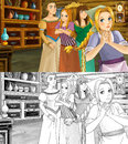 Cartoon scene for different fairy tales two sisters are talking and plotting with mother with additional coloring page colorful Stock Image