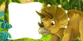 Cartoon scene with dinosaur triceratops smiling and looking with frame