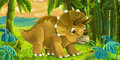 Cartoon scene with dinosaur triceratops smiling and looking