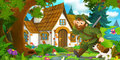 Cartoon scene with a hunter walking towards beautiful old house with his dog Royalty Free Stock Photo