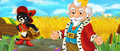 Cartoon scene with king and noble cat walking through the pastures