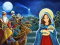 Cartoon scene with Mary and Jesus Christ and traveling kings Royalty Free Stock Photo