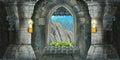 Cartoon scene of medieval interior Royalty Free Stock Photo