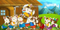 Cartoon scene with mother goat and her kids Royalty Free Stock Photo