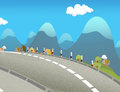 Cartoon scene of street in the mountains Royalty Free Stock Photo
