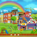 Cartoon scene of a street - small town - stage for different usage Royalty Free Stock Photo