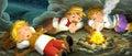 Cartoon scene of travelers sleeping in the cave - vintage looking people