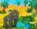 Cartoon scene - wild africa animals - hippo Royalty Free Stock Photo