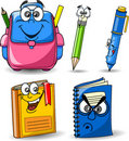 Cartoon school bags, pencils, books vector Stock Photography
