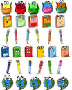 Cartoon school bags, pencils, books vector Royalty Free Stock Photos