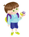 Cartoon school boy with icecream vector illustrated Stock Image