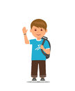 Cartoon school boy with school bag is waving his hand. Back to school. Vector illustration in flat style
