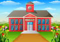 Cartoon school building with green yard Royalty Free Stock Photo