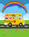 Cartoon school bus with happy children illustration of Stock Image