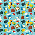 Cartoon school icons seamless pattern Royalty Free Stock Photos