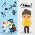 Cartoon school pupil boy palette paint color flyier