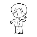 Cartoon schoolboy answering question black and white line in retro style vector available Stock Photo