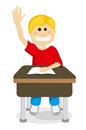 Cartoon schoolboy raising hand illustration on white background Royalty Free Stock Photos