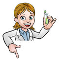 Cartoon Scientist Holding Test Tube Pointing Sign