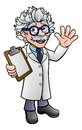 Cartoon Scientist Professor with Clipboard Royalty Free Stock Photo