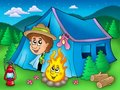 Cartoon scout boy in tent Royalty Free Stock Photo
