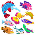 Cartoon sea animal illusration collection animals with white background Royalty Free Stock Photo
