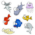 Cartoon sea animals Royalty Free Stock Photo