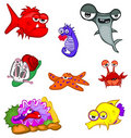 Cartoon sea animals Stock Image