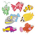 Cartoon sea animals set with white background Royalty Free Stock Photos