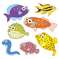Cartoon Sea Animals Set With W...