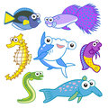 Cartoon sea animals set with white background Stock Photography