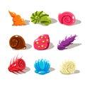 Cartoon Sea Shells. Vector Illustration Set Royalty Free Stock Photo