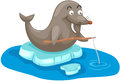 Cartoon seal fishing illustration of isolated on white Royalty Free Stock Photography