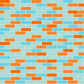 Cartoon seamless coloful flat brick wall texture.