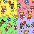 Cartoon seamless pattern with birthday party gifts kids at a Stock Photo