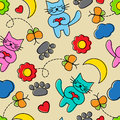 Cartoon seamless pattern with cats bright butterflies flowers and other elements Royalty Free Stock Images