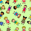 Cartoon seamless pattern with children of different nationalities Stock Photo