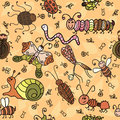 Cartoon seamless pattern with cute insects and leaf vector illustration Stock Images