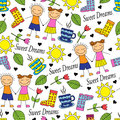 Cartoon seamless pattern with doodle couple in love and miscellaneous items Stock Photos