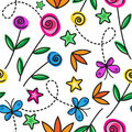 Cartoon seamless pattern with flowers and butterflies Royalty Free Stock Photography