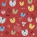 Cartoon Seamless Pattern of Heads of cute Cats. Vector illustration. Animal silhouette. Wallpaper, print design cat