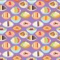 Cartoon seamless pattern healthy oatmeal porridge kasha pap morning cereal meal vector illustration.