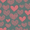 Cartoon seamless pattern with hearts on a blue bac pink striped plaid background Royalty Free Stock Image