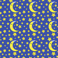 Cartoon seamless pattern moon and stars Royalty Free Stock Image