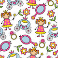 Cartoon seamless pattern with princess and her belongings Stock Image