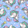 Cartoon seamless pattern with unicorns, sweets,stars, clouds and rainbow