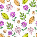 Cartoon seamless vector colored pattern with cute flowers and sprigs.