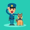 Cartoon security guard policeman with guard dog