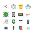 Cartoon Security and Spy Color Icons Set. Vector